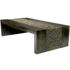 Phyllis Morris Hand Painted Zebrano Wood and Gilt Arabesque Coffee Table