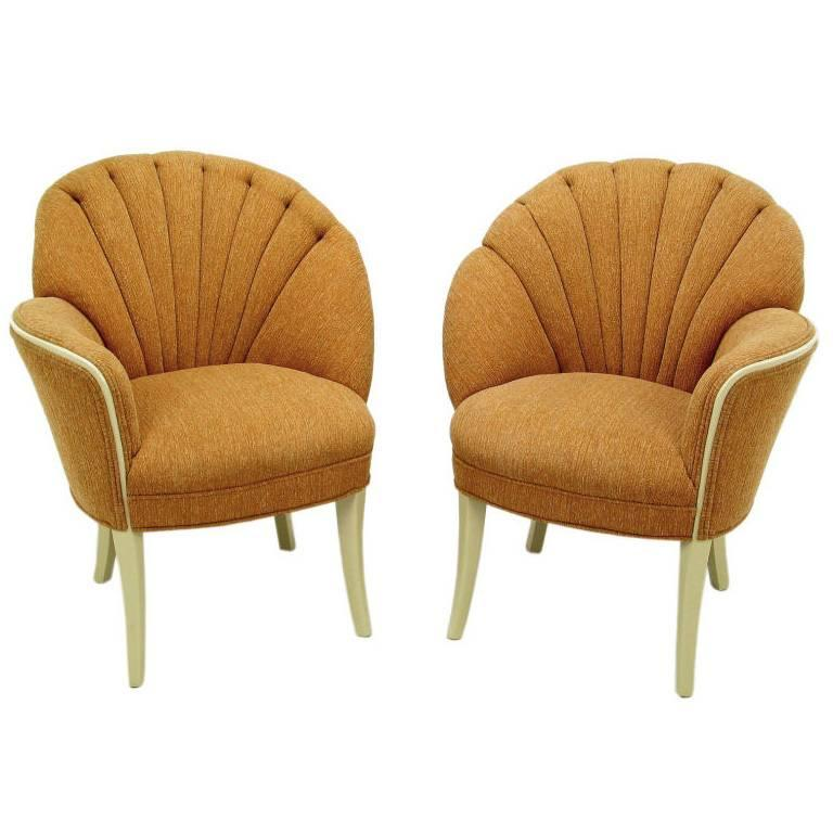 Pair of 1930s Single Arm Art Deco Shell Back Chairs