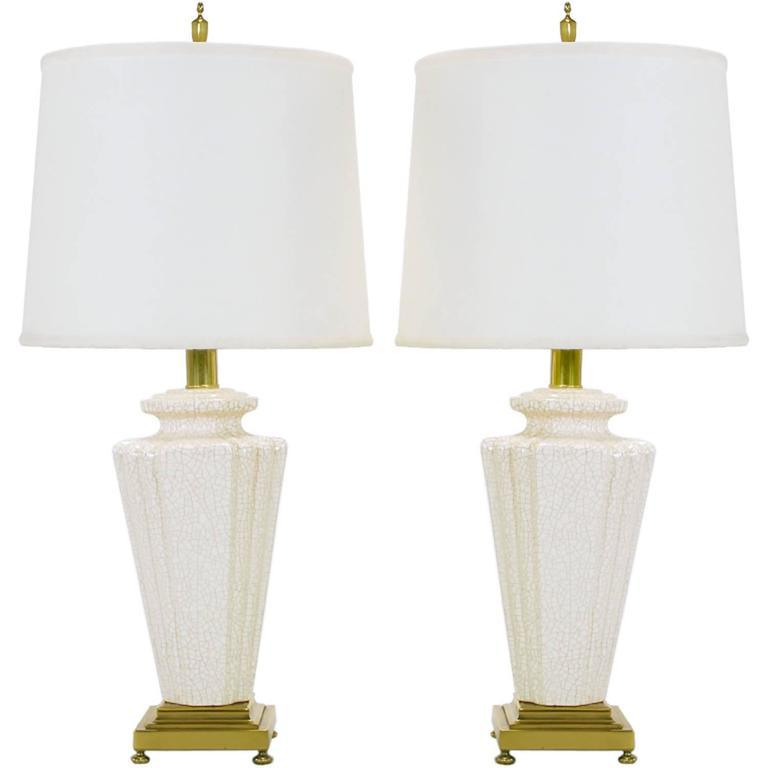 Pair of Rembrandt Lamp Company Art Deco Craquelure Glaze Table Lamps