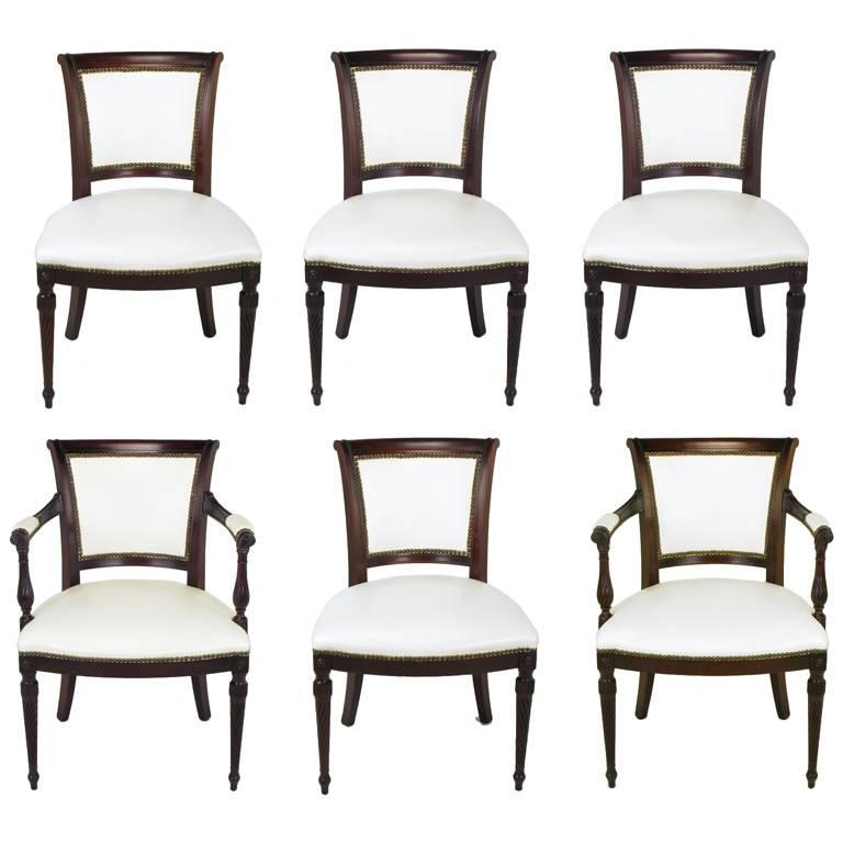 Set of Six 1940s Louis XVI Style Cherry and White Leather Dining Chairs