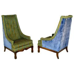 Pair of Brandt Tall Back Lounge Chairs in Jewel Tone Stripe and Blue Velvet