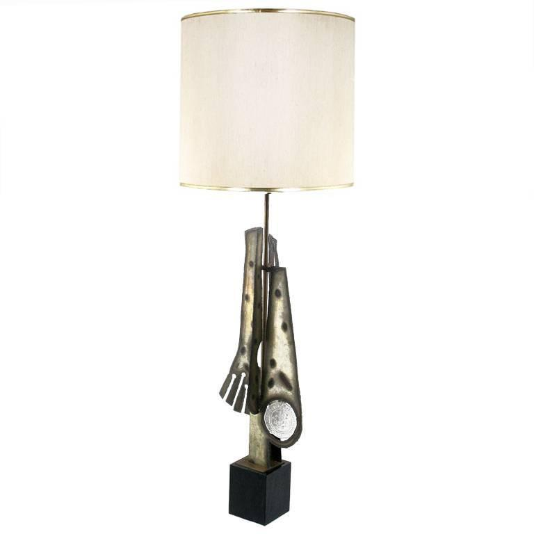 Substantial Tall Brutalist Metal Sculpture Lamp by Laurel