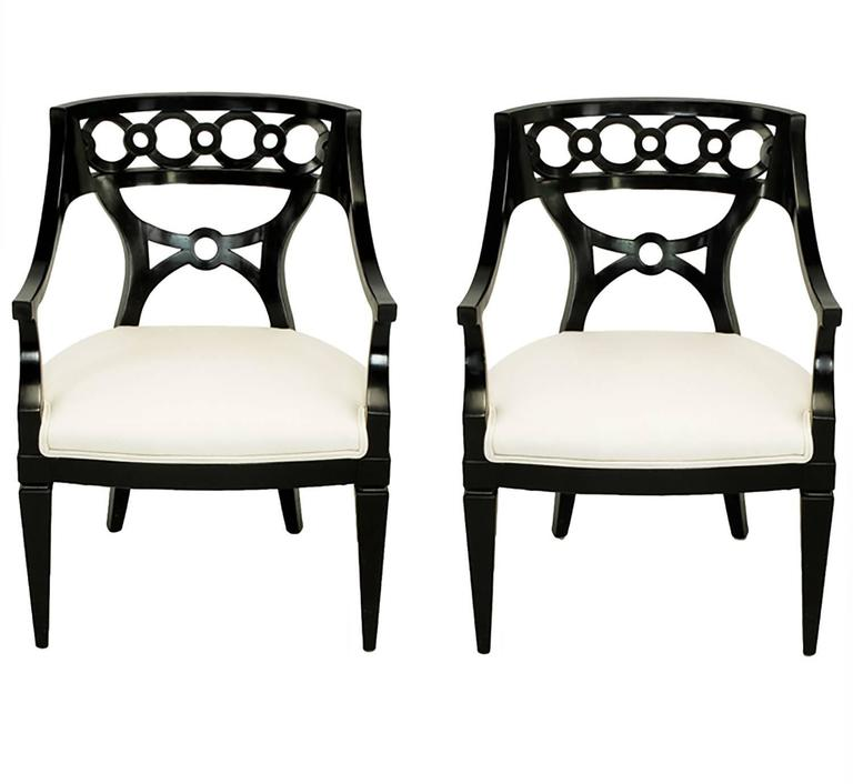 Pair of Black Lacquer and Wool Armchairs with Interlocking Rings For Sale