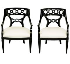 Pair of Black Lacquer and Wool Armchairs with Interlocking Rings