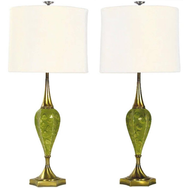 Pair of Rembrandt Green Ceramic and Brass Table Lamps For Sale