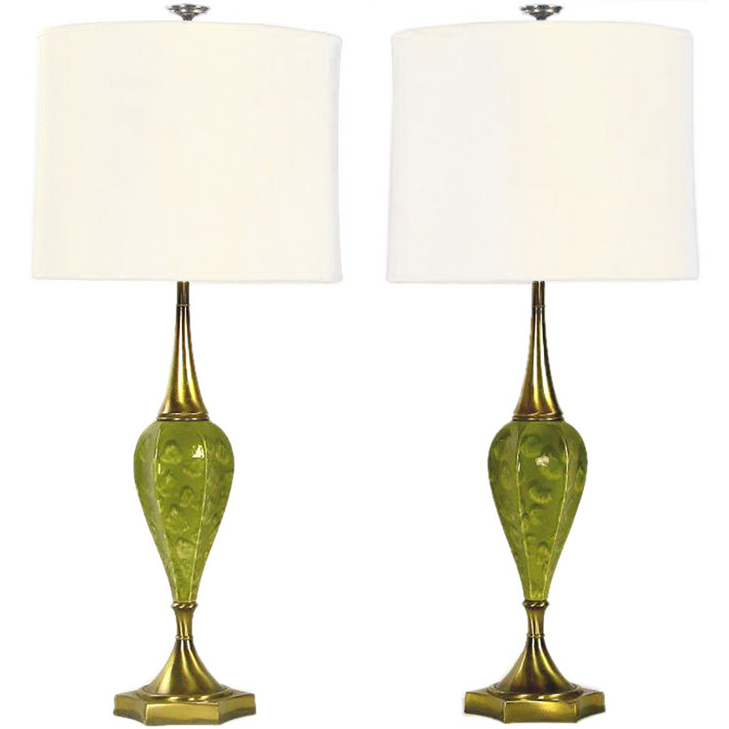 Pair of Rembrandt Green Ceramic and Brass Table Lamps