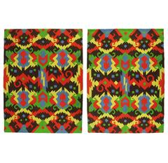 Pair of 1972 Edward Fields Colorful Geometric Rugs