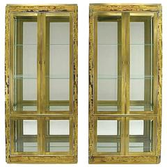 Pair of Mastercraft Bernhard Rohne Acid-Etched Brass Vitrines