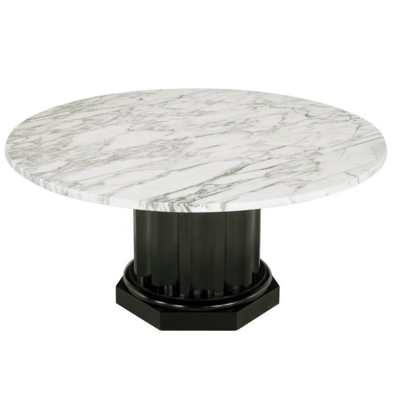 White Carrara Marble Coffee Table With Ebonized Fluted Wood Base For