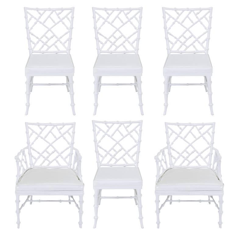 Six Phyllis Morris Cast Aluminum White Lacquer Chinese Chippendale Dining Chairs For Sale
