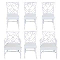 Six Phyllis Morris Cast Aluminum White Lacquer Chinese Chippendale Dining Chairs