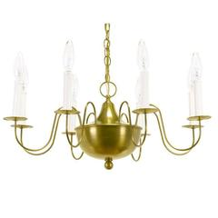 Fine Hand-Spun Brass Eight-Light Chandelier with Delicate Arms