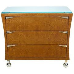 Postmodern Memphis-Style Three-Drawer Ash Commode with Glass Top