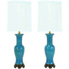Pair of Frederick Cooper Cerulean Blue Crackle-Glaze Table Lamps