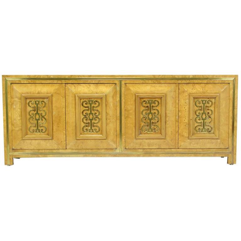 Mastercraft Light Amboyna Burl Long Cabinet with Patinated Brass Detail