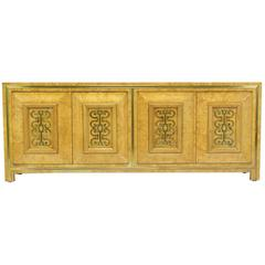 Mastercraft Light Amboyna Burl Long Cabinet with Patinated Brass Detail