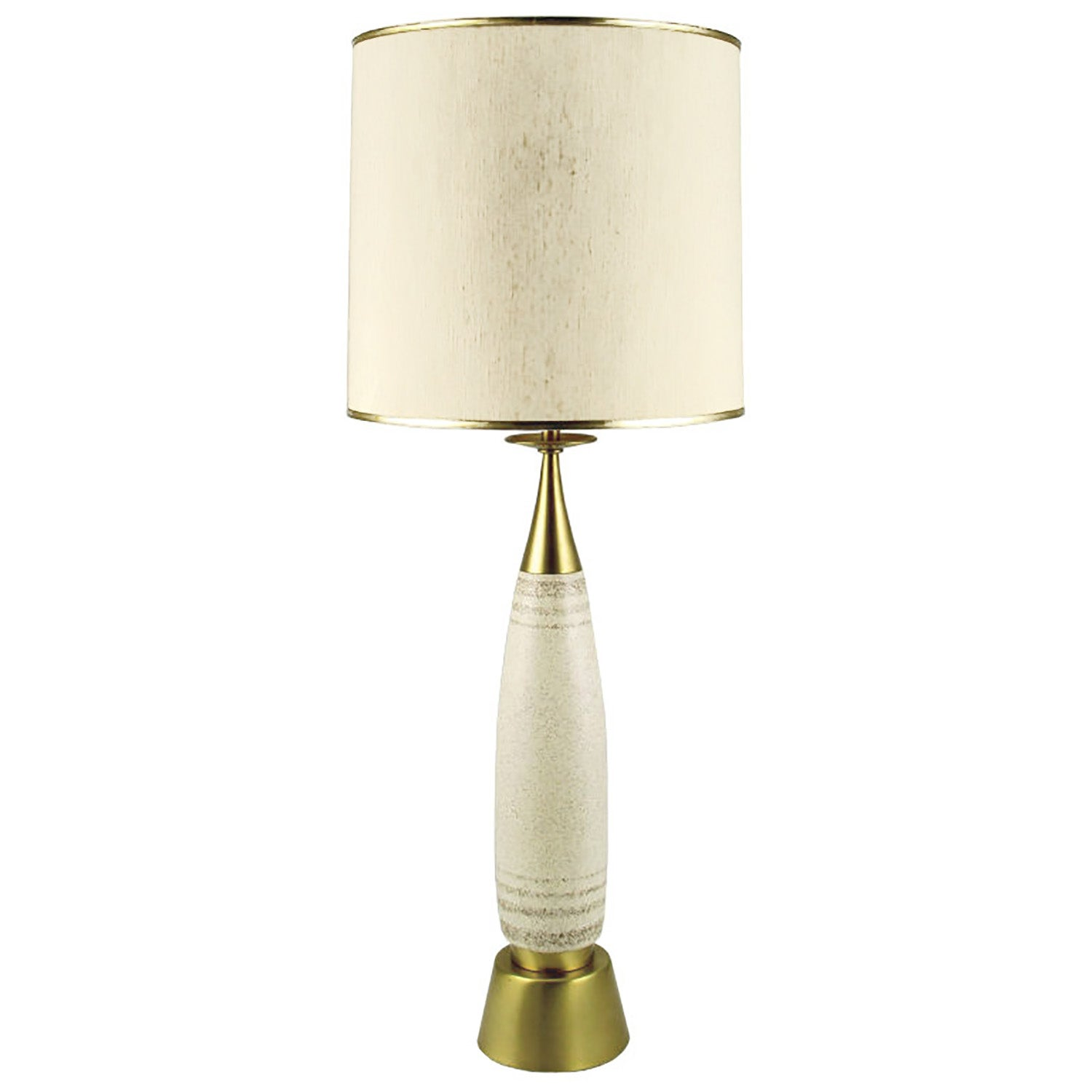 Tall Rembrandt Brass and Glazed Pottery Table Lamp