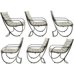 Set of Six Jay Spectre for Brown Jordan Midnight Blue Metal Dining Chairs