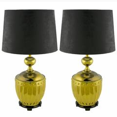 Pair of Stiffel Fluted and Studded Brass Urn Table Lamps