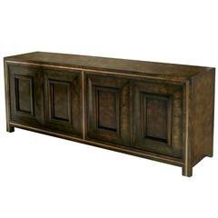 Elegant Burled Amboyna and Brass Sideboard by Mastercraft