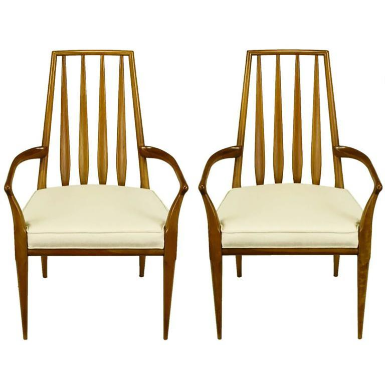 Pair of Bert England Sculpted Walnut and Off-White Linen Slatback Armchairs