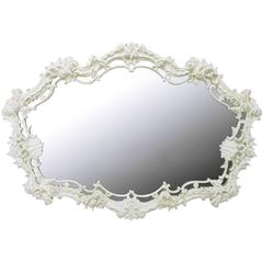 Extraordinary Italian Rococo Mirror of White Lacquered Gesso
