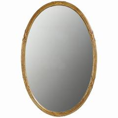 Palladio Italian Reeded and Gilt Oval Mirror