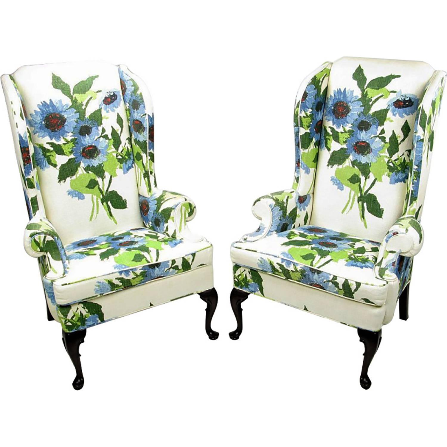 Pair of Elegant and Bold Floral Linen Upholstered Wing Chairs by