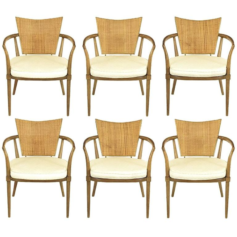Set of Six Bert England Mahogany, Brass and Cane Dining Chairs