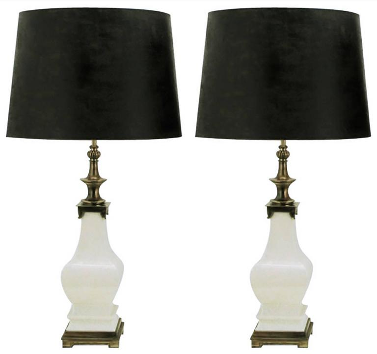 Pair of Stiffel White Crackle Glazed Ceramic and Brass Table Lamps