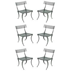 Excellent Set of Six Cast Aluminum Klismos Dining Chairs by Thinline