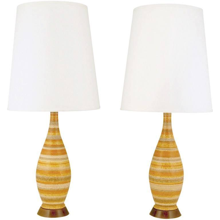 Pair of Striped Salt Glazed Pottery Table Lamps