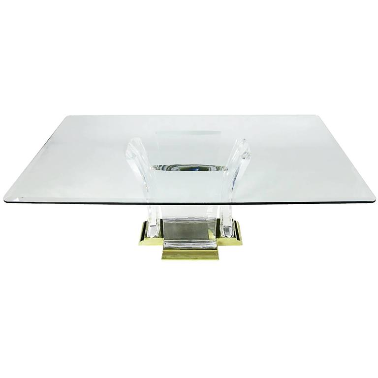 Grand Lucite and Brass Dining Table by Spectrum Limited