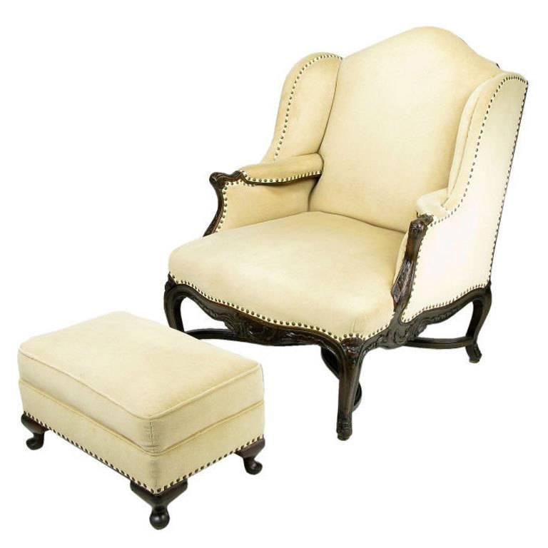 1940s regence wingback chair an ottoman in camel velvet for sale at 1stdibs. Black Bedroom Furniture Sets. Home Design Ideas