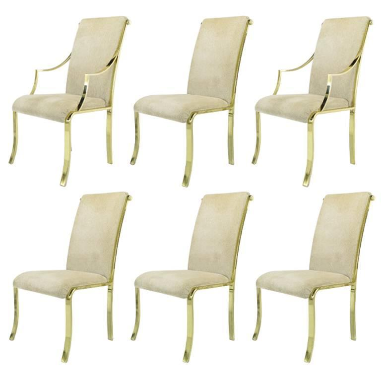 Set of Six Art Deco Revival Brass Dining Chairs by Design Institute of America