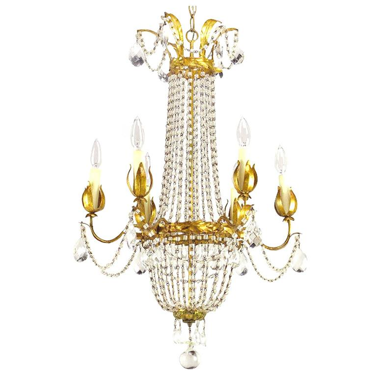 Italian Gilt, Tole and Crystal Six-Arm Basket Chandelier