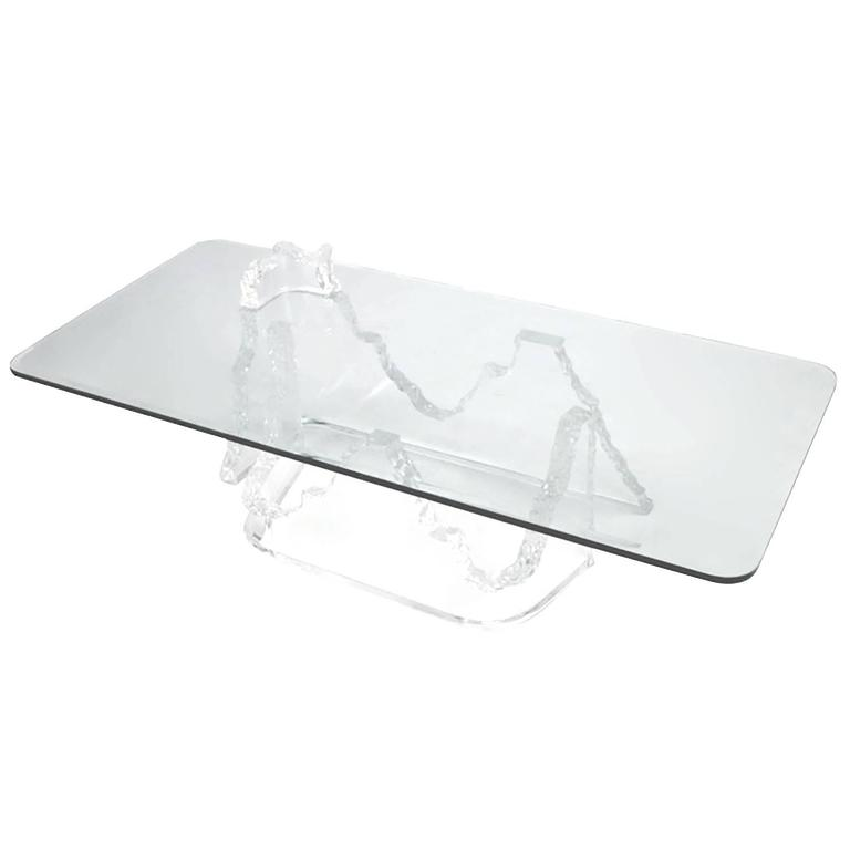 Lucite and Glass Iceberg Coffee Table Lion in Frost Attributed