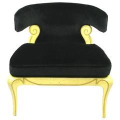 Grosfeld House Sculptural Black Velvet Slipper Chair