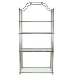 Chrome and Brass Canopied Four-Shelf Ètagerè