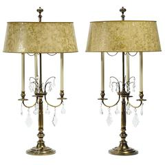 Pair of Stiffel Large Brass and Crystal Bouillotte Table Lamps