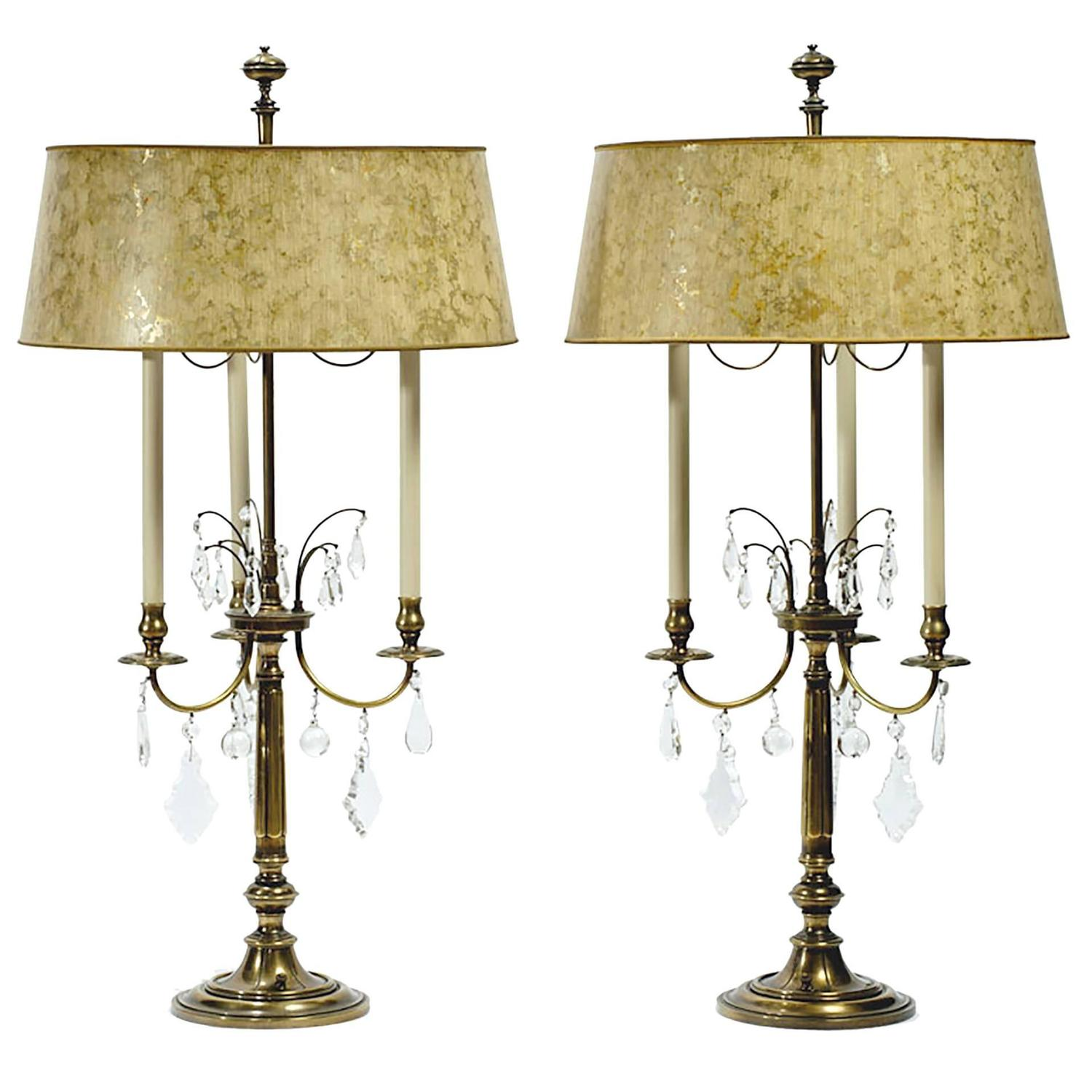 pair of stiffel large brass and crystal bouillotte table. Black Bedroom Furniture Sets. Home Design Ideas