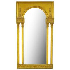 Tall Open Double Column Gilt Neoclassical Style Mirror