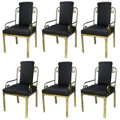 Set of Six Mastercraft Greek Key Design Brass Dining Chairs