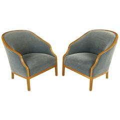 Pair of Ward Bennett Club Chairs in Walnut and Mohair