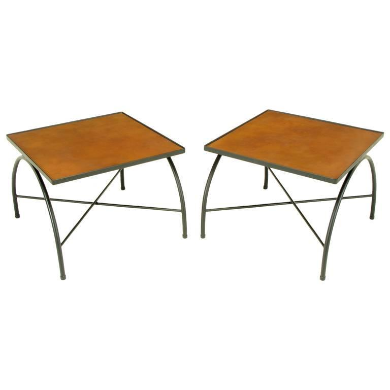 Black lacquered wrought iron and leather x base end tables for Wrought iron side table base