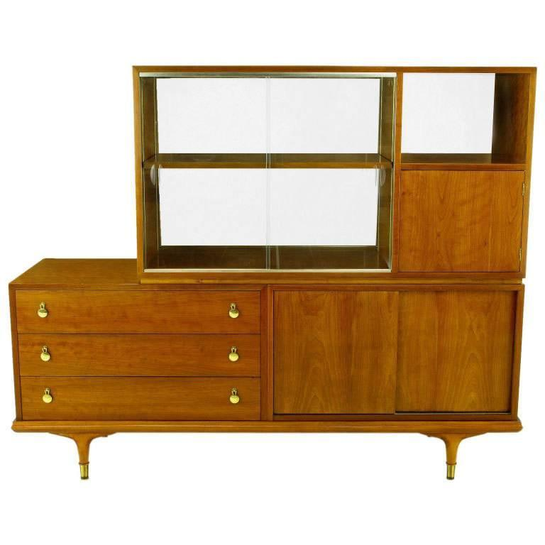 Renzo Rutili Walnut Double-Sided Cabinet for Johnson Furniture For Sale