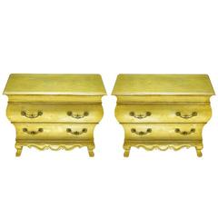 Pair of Henredon Gold Toned Silver Leaf Bombe Two-Drawer Commodes