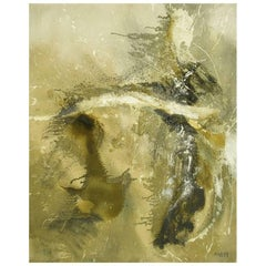 Large Earth Tone Oil Impasto Relief Abstract Painting by Hardy