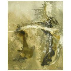 Large Earth Tone Oil and Gesso Relief Abstract by Hardy