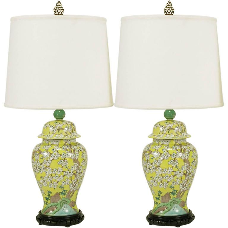 Pair of Imported HandPainted Yellow Glaze Ginger Jar Table Lamps